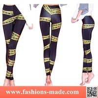 Women Fashion Yellow Warning Letters Printed Tights