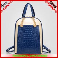 2015 new design PU contrast color double shoulders bag, backpacks laptop for woman