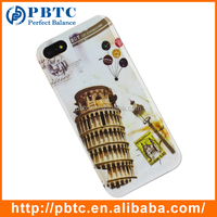 Set Screen Protector And Case For Iphone 5 , Hard Plastic Retro Style Leaning Tower of Pisa Smart Phone Case