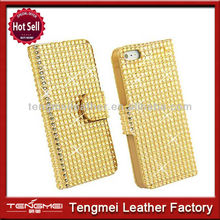 Cell Phone Minions Case For iPhone 5 5S,Luxury Bling Diamond Crystal PU Leather Cover Case For iPhone 5 5S