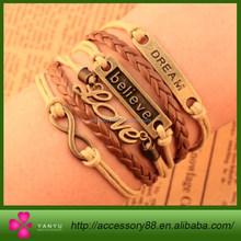 New Design Europe Fashion vintage Charm Elegant believe dream love Infinity cross Multilayer Leather Bracelet wholesale