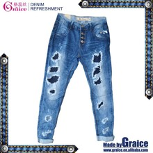 Unique design suspender denim girls high waisted distressed skinny jeans