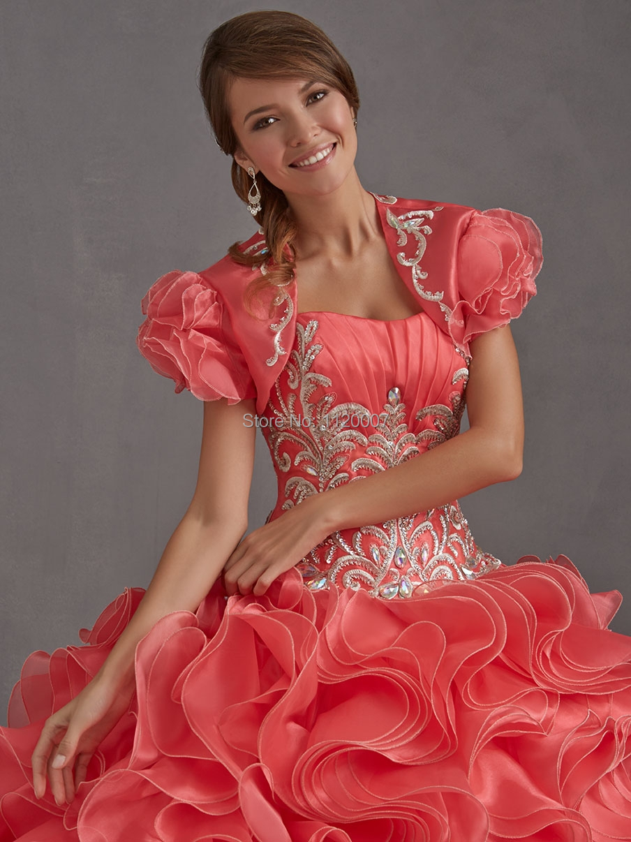 2015 Puffy Coral Quinceanera Dresses Ball Gowns with Jacket Plus ...