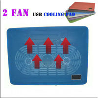 New Cooling Pad with USB 2Fans Laptop Cooling Pad Laptop Table Cooler Cooling Fan Blue Led Laptop notebook cool Table Stand