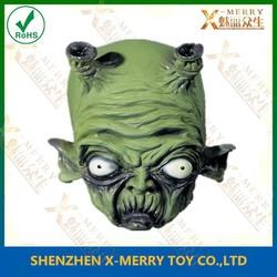 X-MERRY new alien mini monster Green alien mask bulging white eyes is made of Soft rubber latex