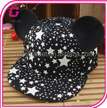 latest designs mouse ear baseball cap with luminous for child stars