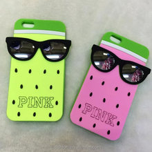 new cute soft silicone back cover for iphone 6 3d phone case with sunglasses watermelon