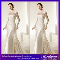 Fashion Elegant Sexy Sheath Long Sleeve Square Satin Applique Floor Length Sexy Kebaya Wedding Dress(CC3471)