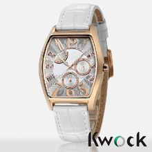 Square Stainless Steel IP Rose Gold Unisex Wristwatch Chronograph Watch