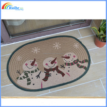 christmas snowman welcome jute rug carpets with printing
