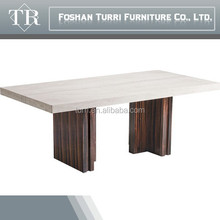 Hot sell elegant travertine top wooden dining table