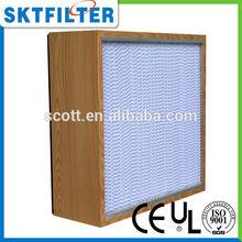 caja 2014 h13 tipo de fábrica precio de venta al por mayor del medio ambiente marco de madera laminar de aire de flujo del filtr