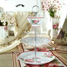 Elegant Rose Design Fine White Porcelain 3 Tier Cupcake Stand