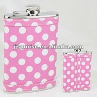 8OZ leather covered hip flask with dots