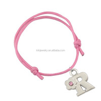 bulk buy from China custom rhodium plating alphabet letter R charms colorful waxed string bracelet jewelry for hot selling
