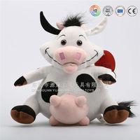 stuffed black cow toy