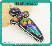Hermosa joyería Splendid cristal dicroico cristal de Murano de colores libertad forma Vintage Silver tres colgante de piedra