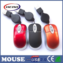 2015 popular drivers usb mini optical mouse with retractable