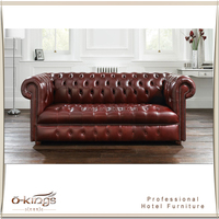 Chesterfield Leather Sofa for Commercial Use