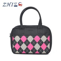 Wholesale cheap cute standard size tote bag cotton canvas with grid print for fashion office ladies