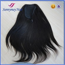Sunnymay Natural Color Black Straight 100% Malaysian Virgin Human Hair Drawstring Ponytail Hair Extensions