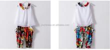 girl's chiffon solid shirts and printed harem pants sets