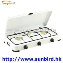 Portable Design 3 burners Gas Stove Top With Lid