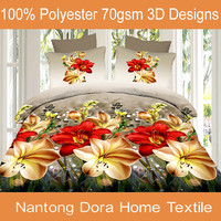 colourful flowers 3D beding set,bed set manufacture, king fitted sheet set