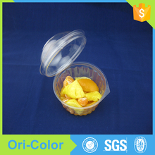 Small cheap disposable plastic salad bowl with lid