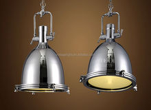 Decorative Vintage Industrial Hanging Lamp Chrome or Brass Color Pendant Light