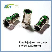 Push-On F Connector Push-Lock Type All Brass Nickel Plated No Crimp or Compression Tool Needed RG-59 Push Lock Crimpless Coaxial