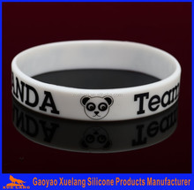 Panda silk screen printing silicone wristbands