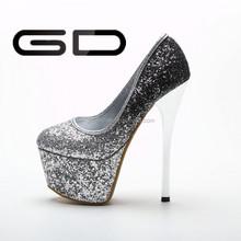 16cm gilded high heels shoes 6cm platform shoes with sequins