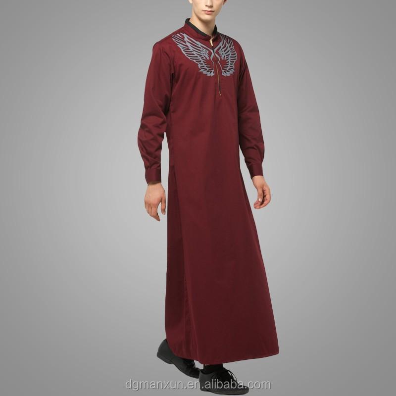 2016 Design Mens Islamic Thobe Saudi Style Robe Arab Sayyid Thobe Maroon (3).jpg