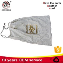 Extra Large Customized hanging cotton canvas Drawstring Dirty Laundry Cleaner Bag with pocket