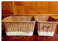 nw style white and brown plastic rattan storage box
