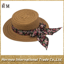 Kids beach floppy straw paper hat boater girls hat with small flower bowknot