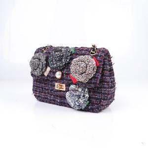2018 guangzhou el yapımı tasarımcı debriyaj çanta mor çiçekler zincirler kadın çanta