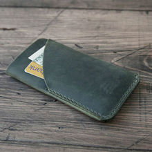 Personalized Cell Phone Pouch Genuine Leather Case for iPhone 6 Plus