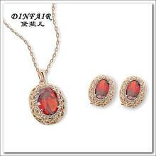 2015 High quality fashion alloy 18k gold plated big stone wedding jewelry set wholesale