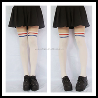 Academy Students Fake Over-knee Stocking Double Stripe Tights Pantyhose white color