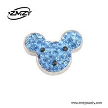 Popular Fashion Fits Bracelets Accessory Snap Button Charms With Blue Rhinestone Clasps DIY Jewelry