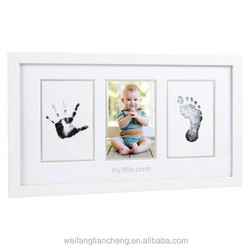 3 opening white wood photo frame with mat wholesale / quality wood photo frame for baby custom online