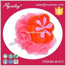 2015 Best quality unique wholesale flower ball body scrub sponge gift for walmart audit BA-M-013
