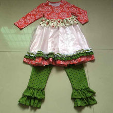 kids mastard pie remake outfits red floral tunic white lace tunic and green black polka dot pants 2 pcs set LW-007