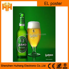 High Quality Advertising El Aminated Poster,Customized Brand Advertising Flashing EL Poster
