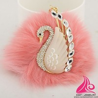 Romantic Swan With Soft Top Ball Rhinestone Keyring Fashion Brand Keychains For Bikes
