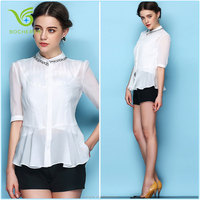 Long sleeve girl and lady chiffon blouse lotus leaf collar