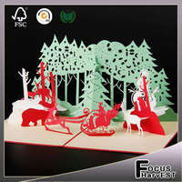 Handmade card Christmas Party card Kirigami Bulk 3D Laser Cut Greeting cards as Merry Christmas Gifts