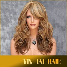 2015 Newly arrival wholesale long blonde synthetic lace front wigs/Kanekalon synthetic fiber women's wig